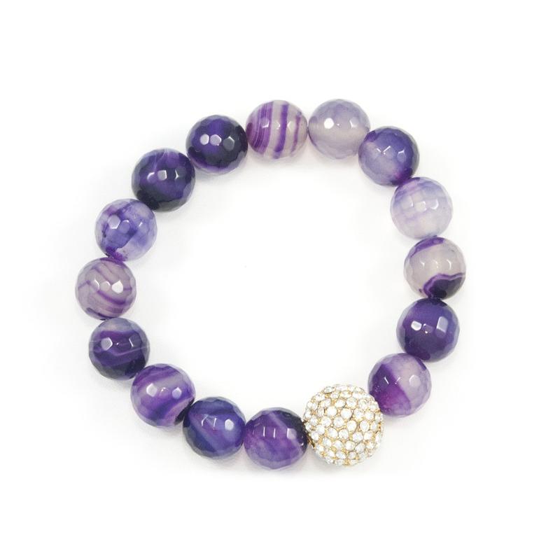 Urban Gem Play Ball Stretchy Bracelet in Purple