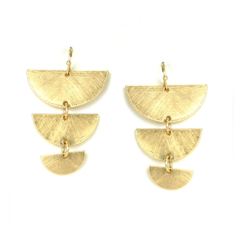 Urban Gem Tapered Crescent Earrings in Brushed Gold