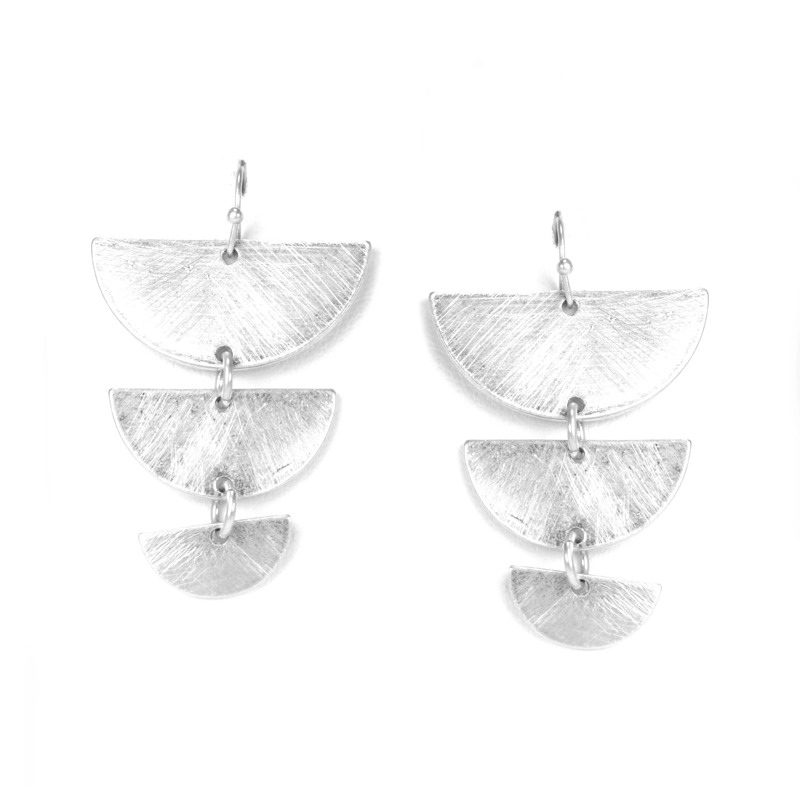 Urban Gem Tapered Crescent Earrings in Brushed Silver