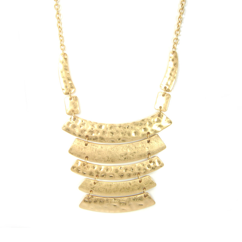 Urban Gem Tiered Crescent Necklace in Hammered Gold