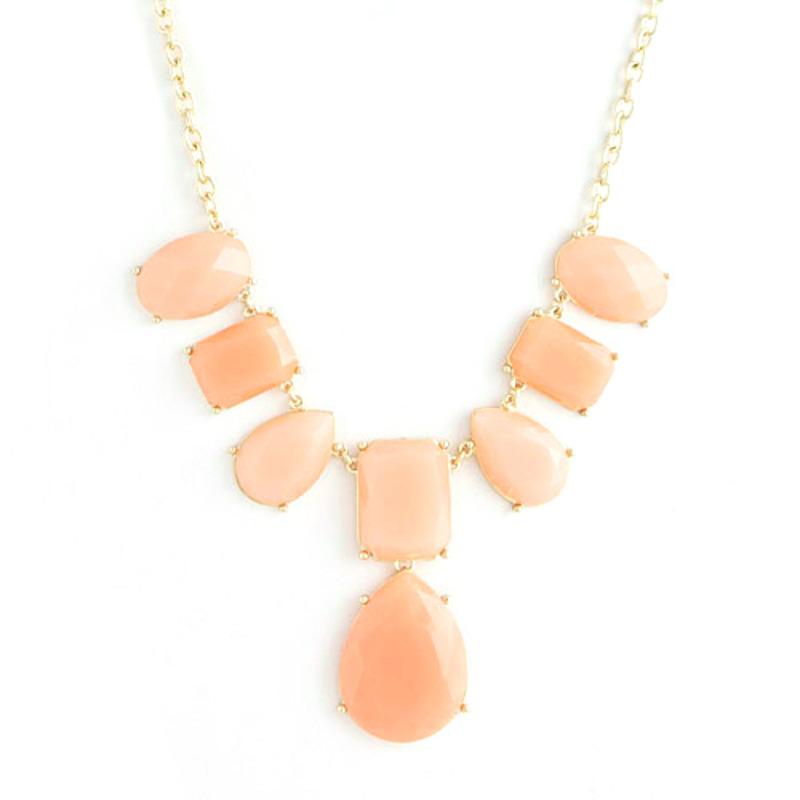 Urban Gem Faceted Peachy Bib Necklace