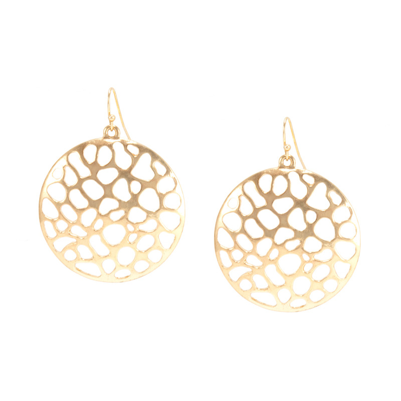 Urban Gem Pebble Disc Earrings in Gold