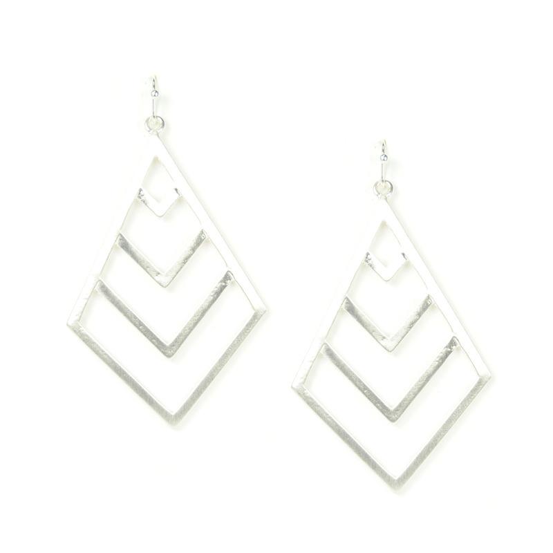Urban Gem Chevron Sunburst Earrings in Silver