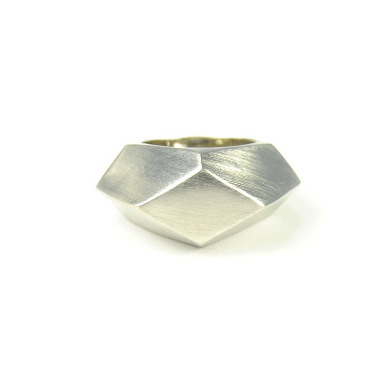 Urban Gem Multifaceted Ring in Antique Silver