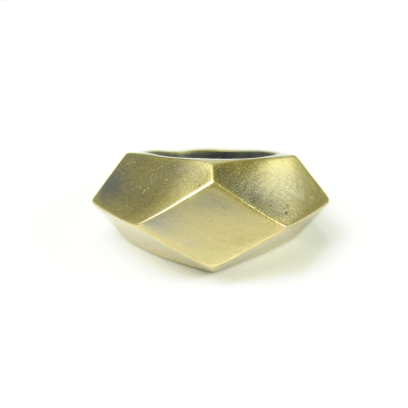 Urban Gem Multifaceted Ring in Antique Gold