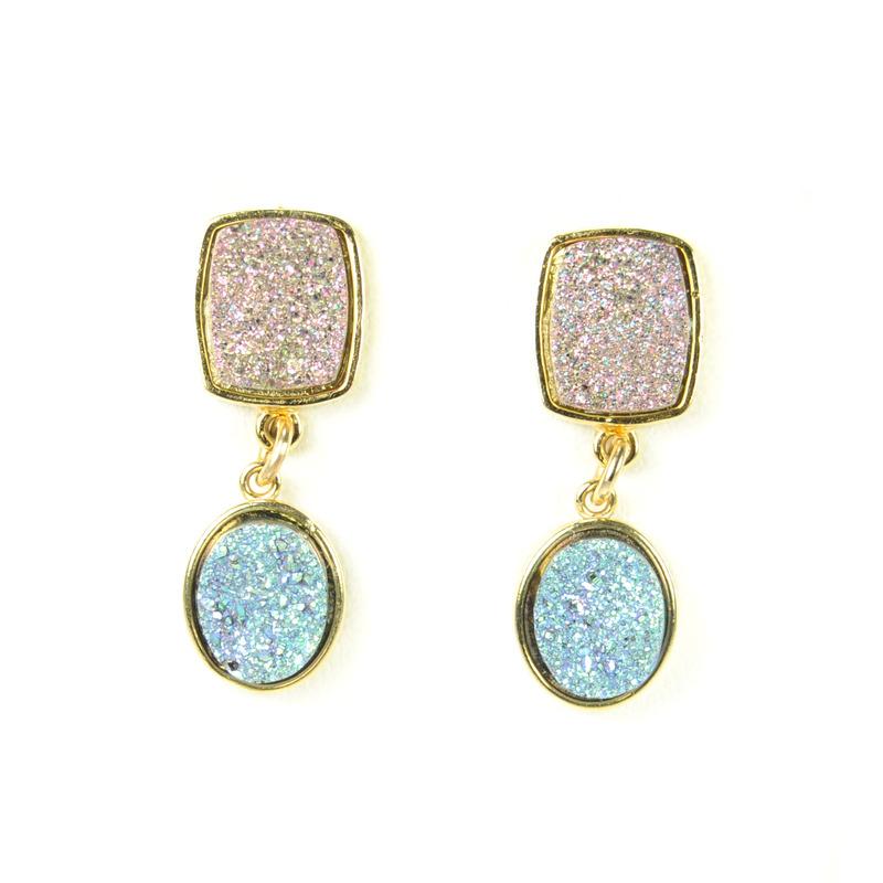 Dara Ettinger Cynthia Double Druzy Earrings in Lunar