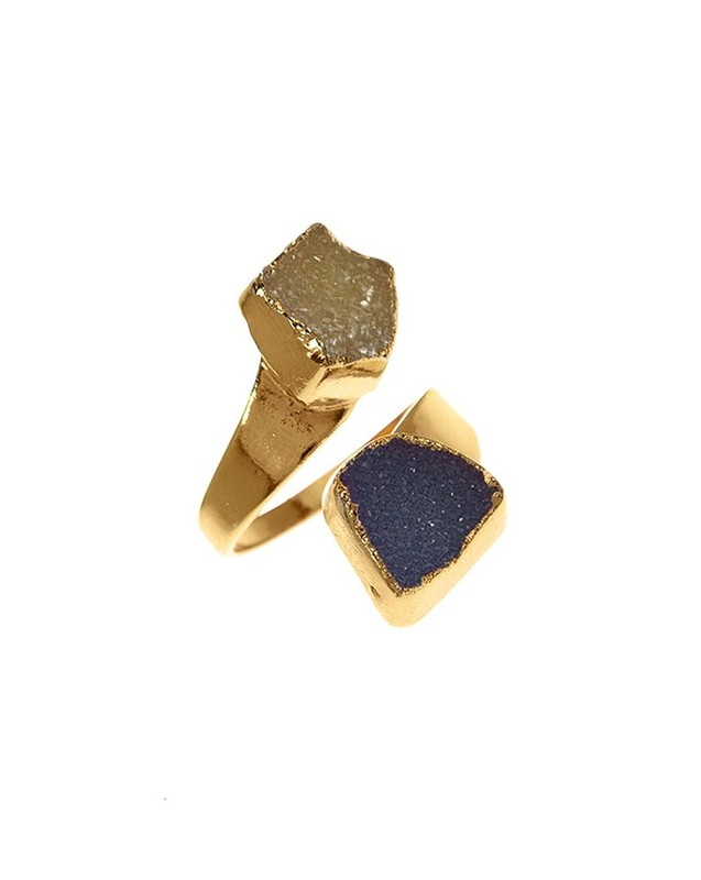 Charlene K Double Druzy Ring in Blue and Champagne