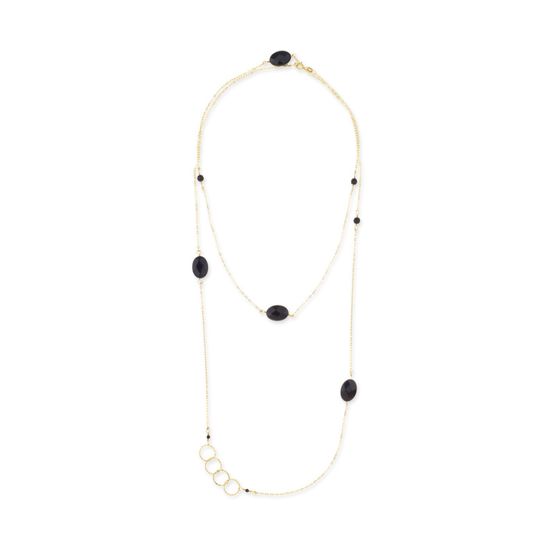 Charlene K Charm Necklace in Gold/Onyx
