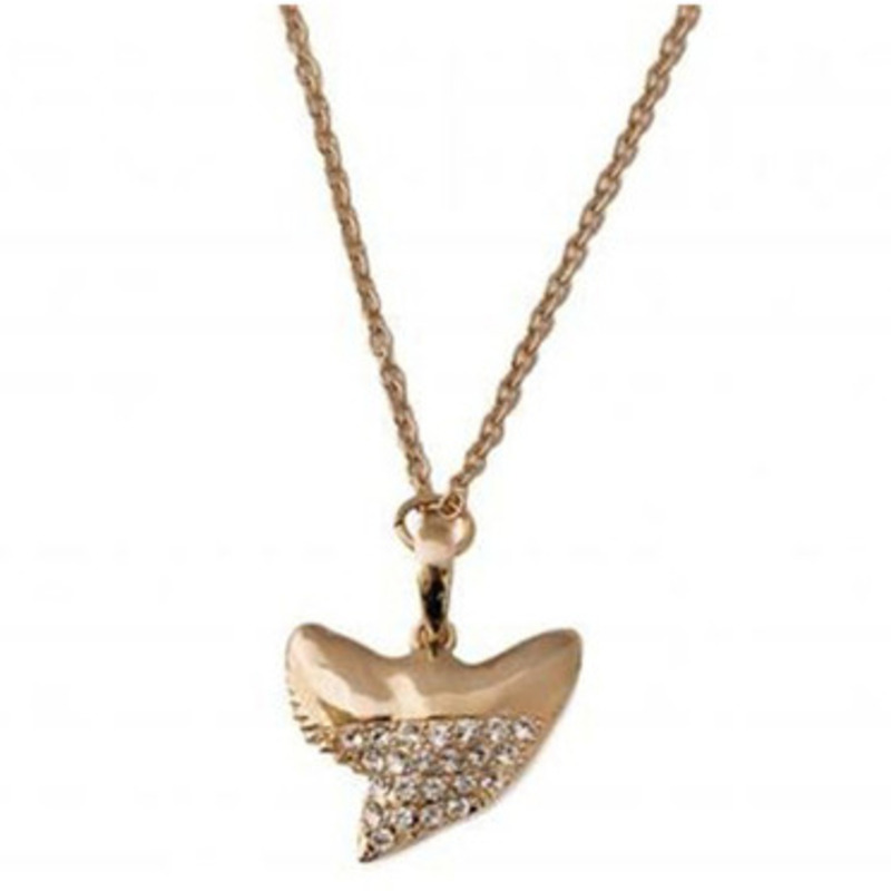 CC Skye Sharks Tooth Pave Pendant Necklace