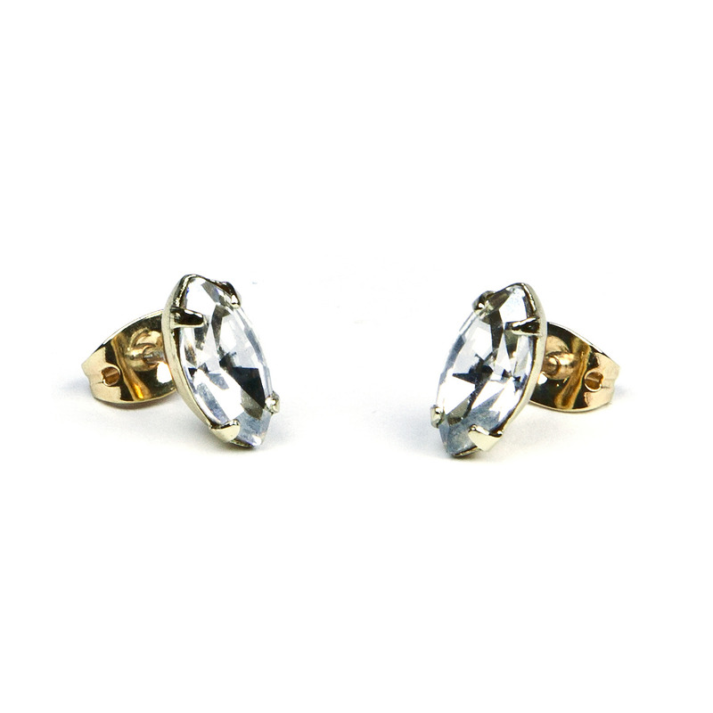 Bing Bang Marquis Studs in Gold Plated Sterling Silver