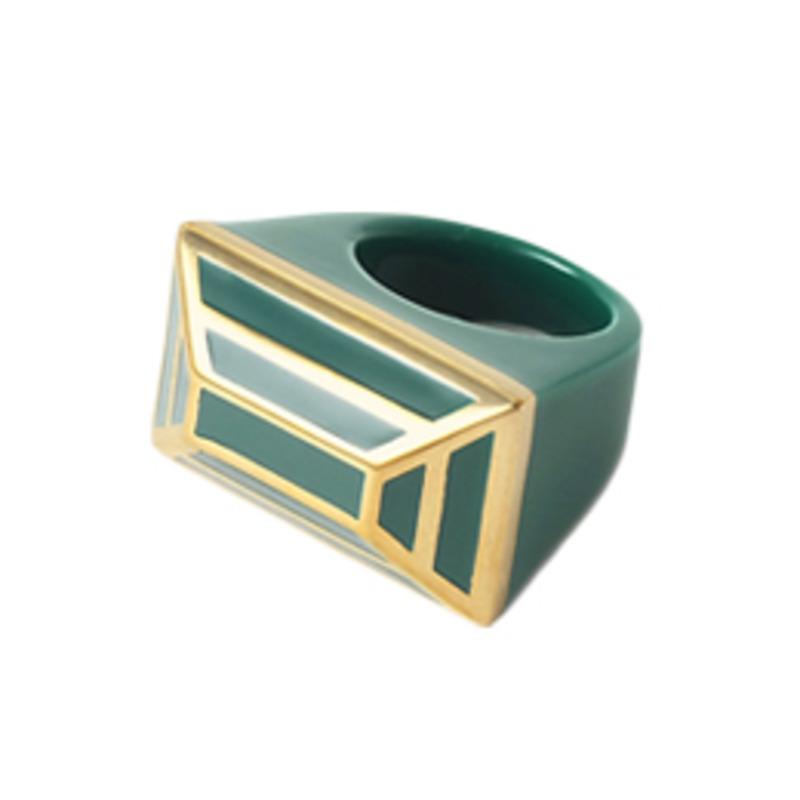 Isharya Louvre Pyramid Ring in Emerald