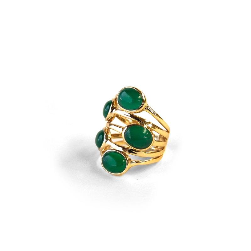 Isharya Gypsy Multi Stone Ring in Emerald Agate