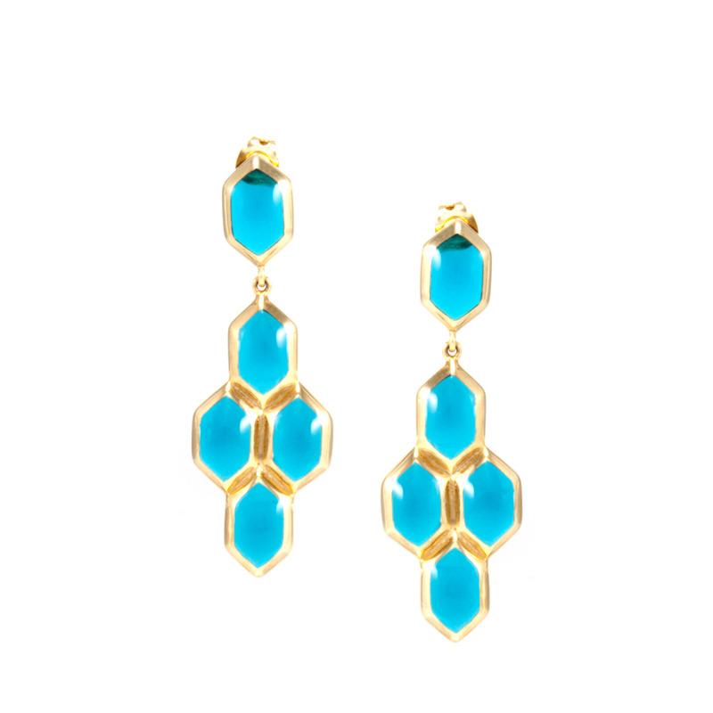 Lucas Jack Hex Earrings in Blue