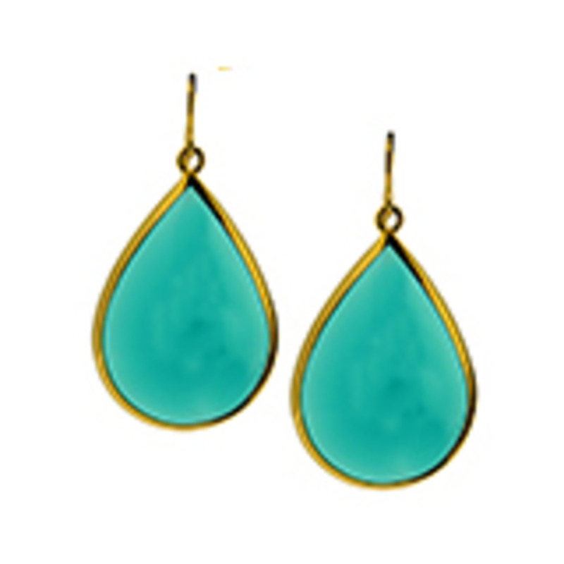 Lucas Jack Drop Earrings in Sea Green and Gold