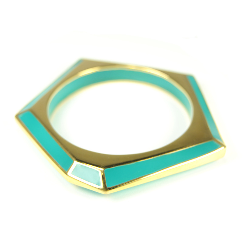 Lucas Jack Hex Bangle in Sea Green and Gold
