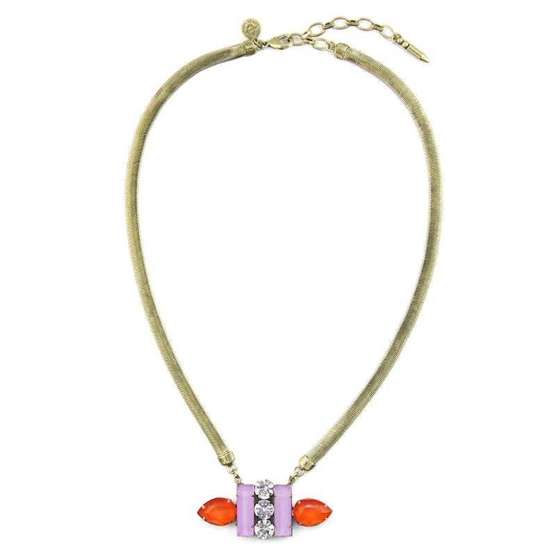 Loren Hope Petra Petite Necklace in Orchid/Tangerine