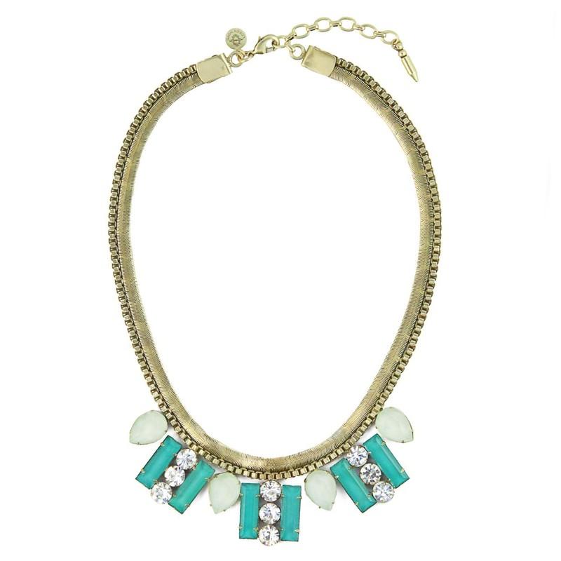 Loren Hope Petra Bib Necklace in Teal/Mint