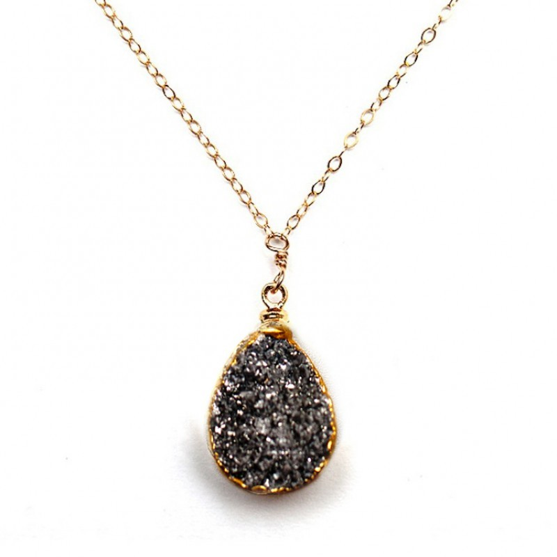 Robyn Rhodes Claire Necklace in Gold and Silver Druzy