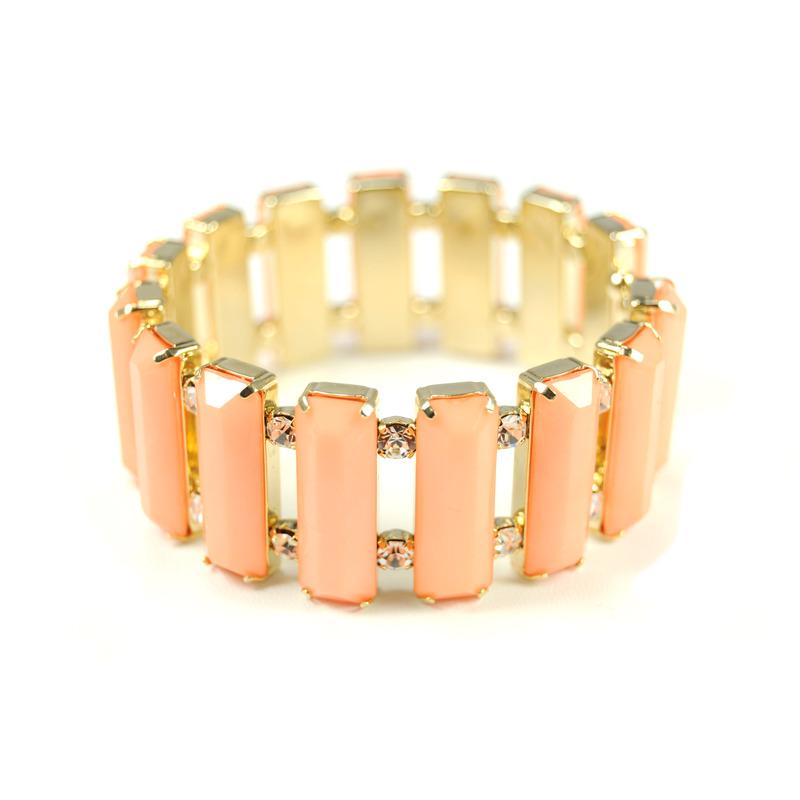 Urban Gem Baguette Bracelet in Coral