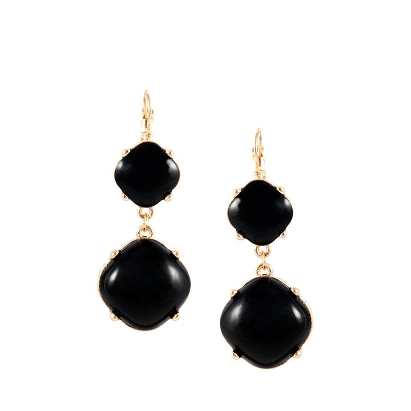 Urban Gem French Clip Drop Earrings in Black