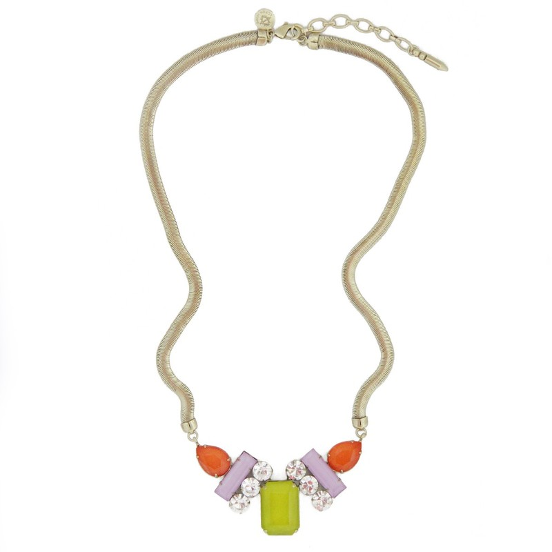 Loren Hope Petra Tri-Color Necklace in Orchid/Tangerine/Chartreuse