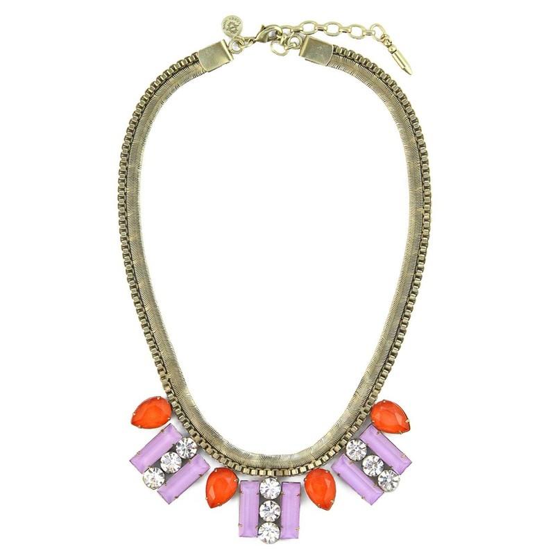 Loren Hope Petra Bib Necklace in Orchid/Tangerine