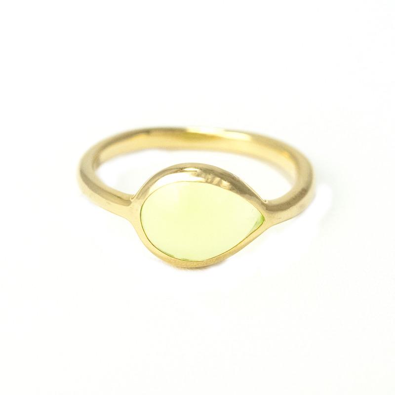 Lucas Jack Delicate Teardrop Ring in Chartreuse