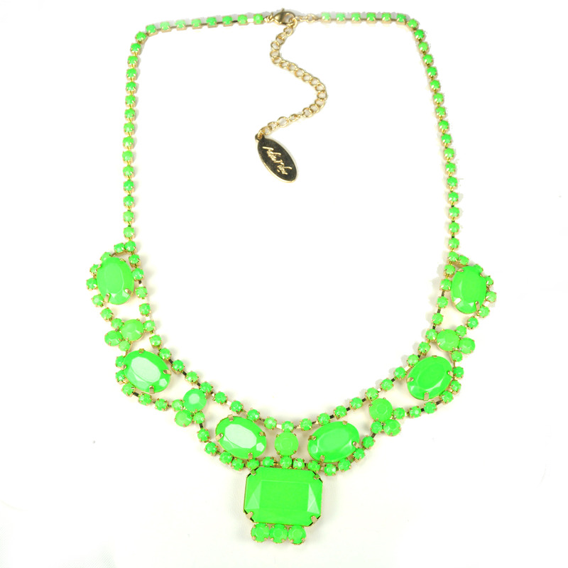 Adia Kibur Neon Stones Necklace in Green