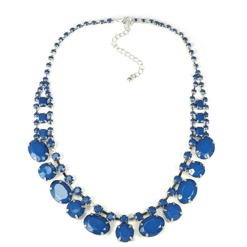 Adia Kibur Acrylic Stones Necklace in Navy