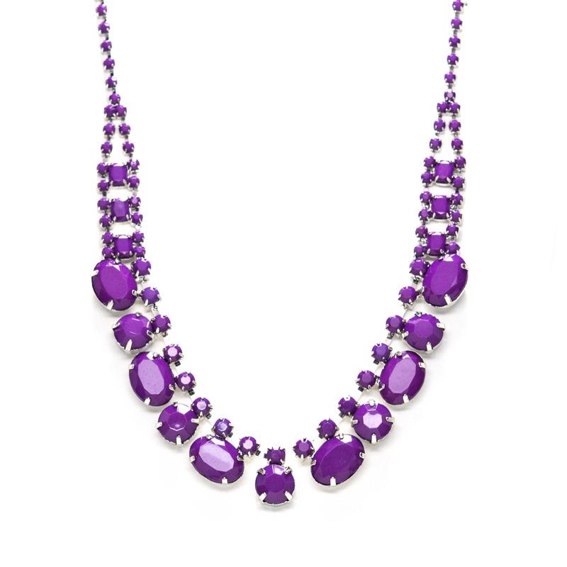 Adia Kibur Acrylic Stones Necklace in Violet