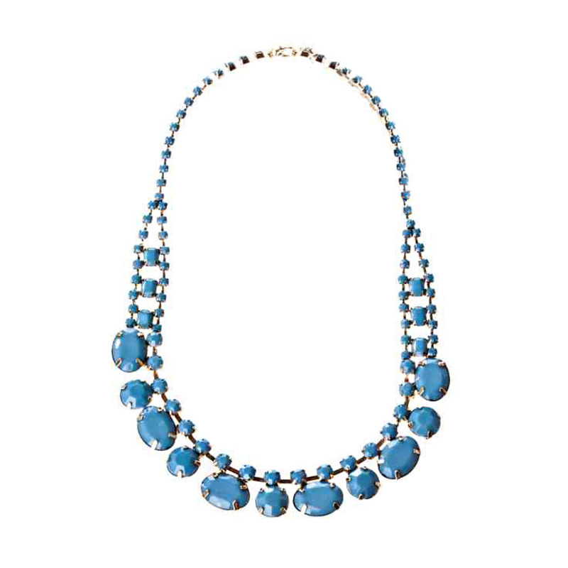 Adia Kibur Acrylic Stones Necklace in Blue