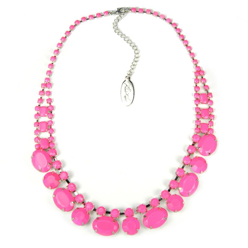Adia Kibur Acrylic Stones Necklace in Pink