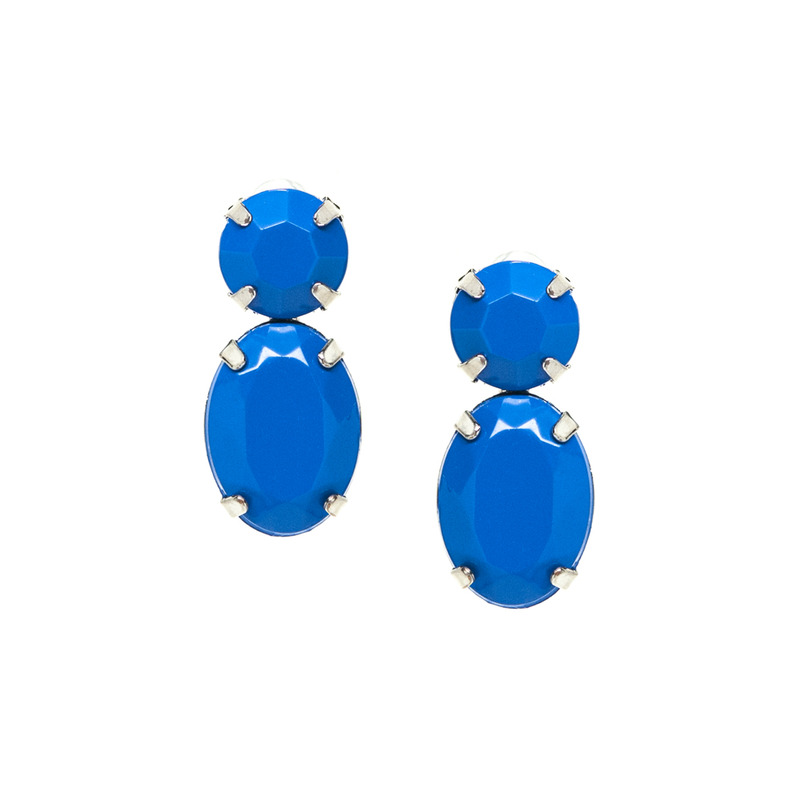 Adia Kibur Super Bright Acrylic Stone Earrings in Blue