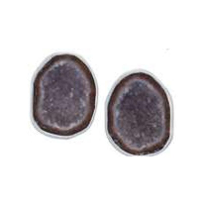 Charles Albert Geode Stud Earrings in Tabasco and Sterling Silver