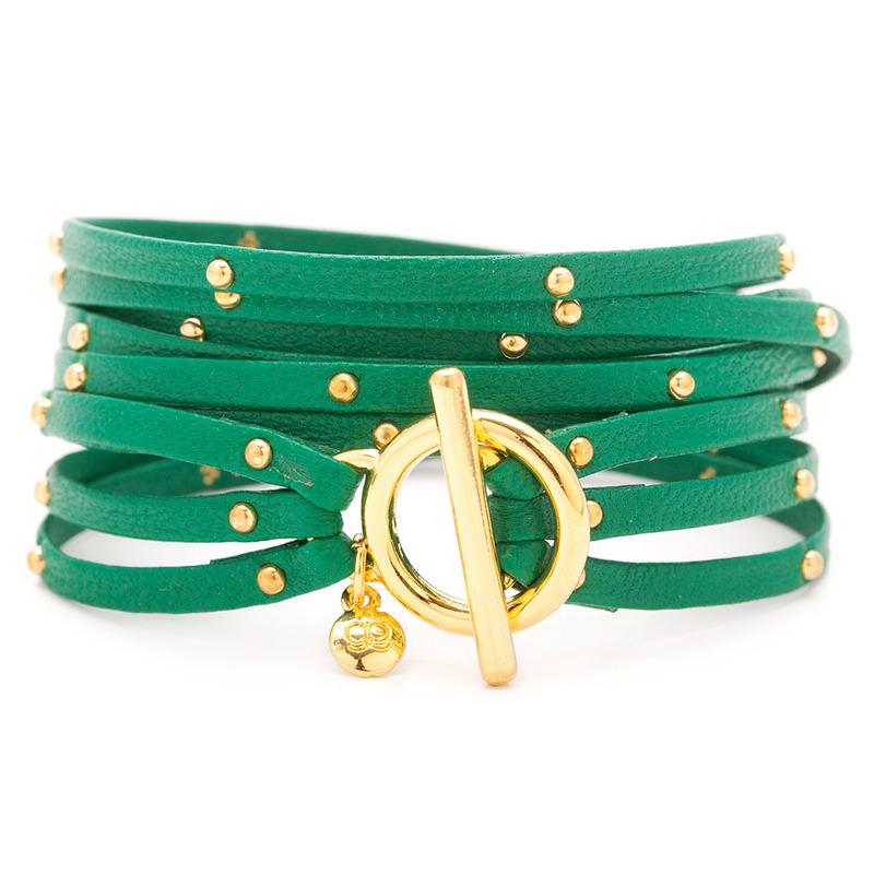 Gorjana Graham Leather Triple Wrap Bracelet in Kelly Green