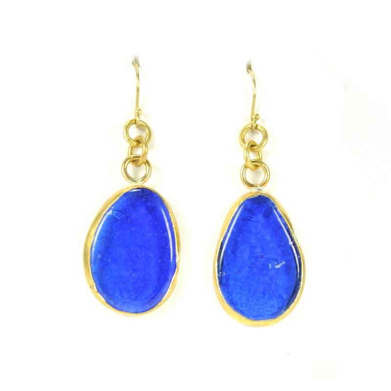 Made Mini Mayai Glass Earrings in Blue