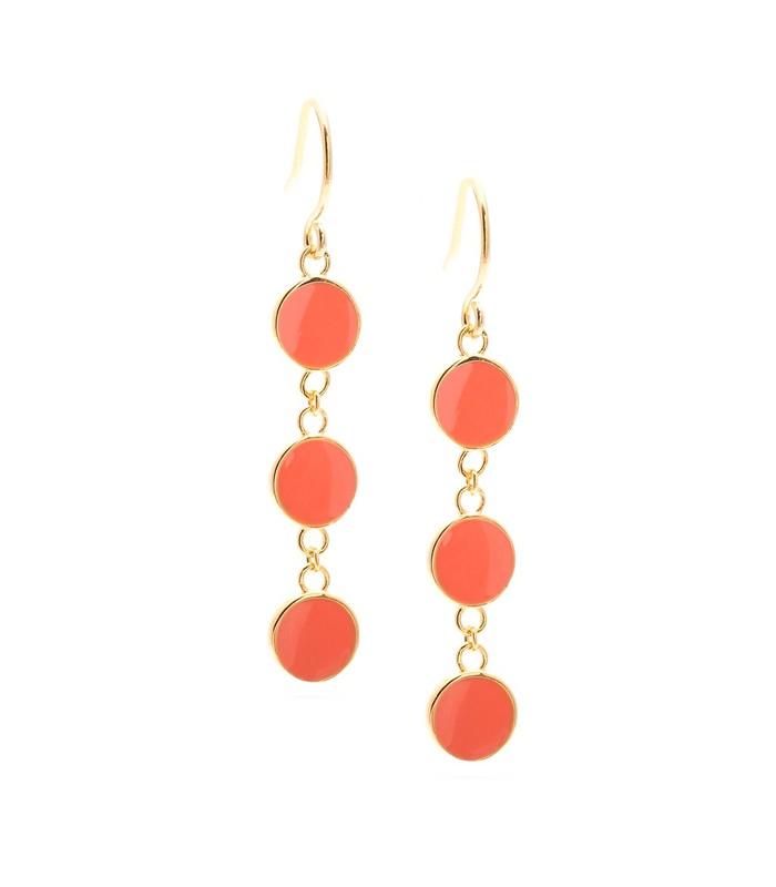 Gorjana Bloom Disc Drop Earrings in Coral
