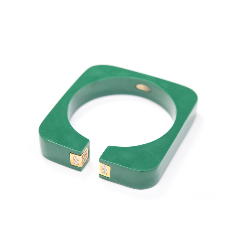 Isharya Vendome Square Resin Cuff in Emerald Green