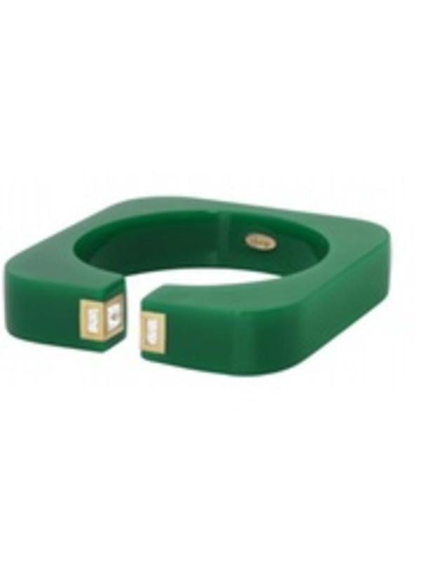 Isharya Vendome Square Resin Cuff in Emerald Green