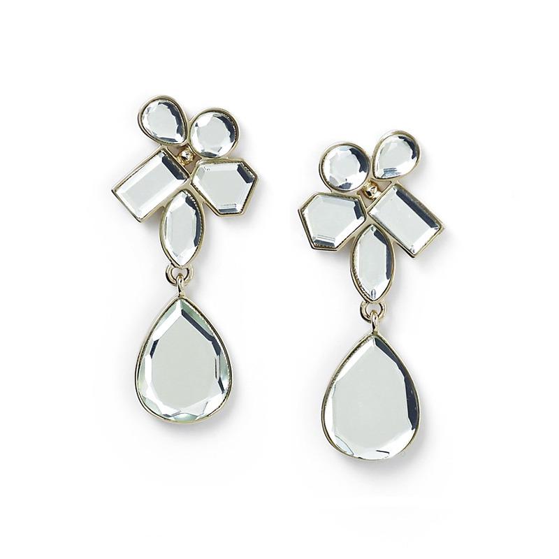 Isharya Mirror Cluster Drop Earrings in 14kt Gold Plate