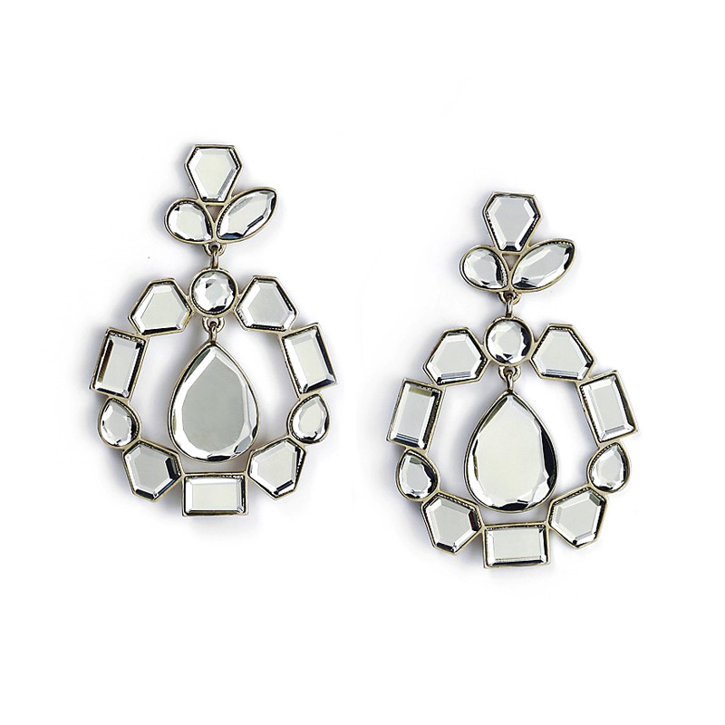 Isharya Mirror Cluster Statement Earrings