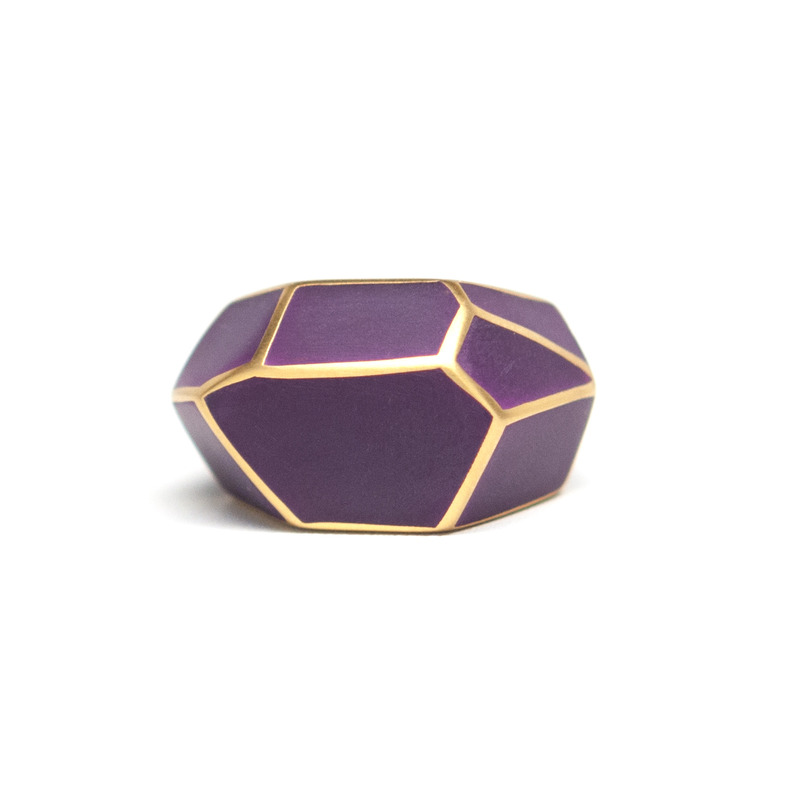 Isharya Purple Frost Louvre Resin Ring
