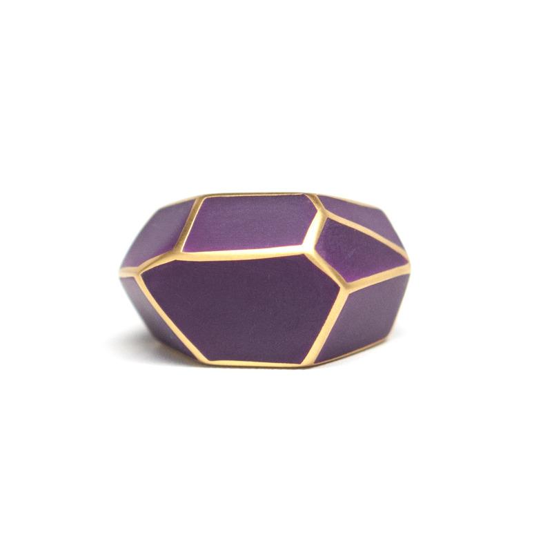 Isharya Purple Frost Louvre Resin Ring