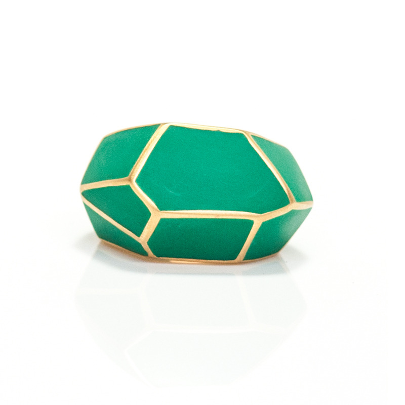 Isharya Green Frost Louvre Resin Ring