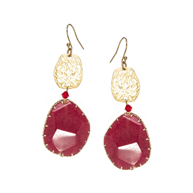 Urban Gem Bohemian or Bust Earrings in Ruby