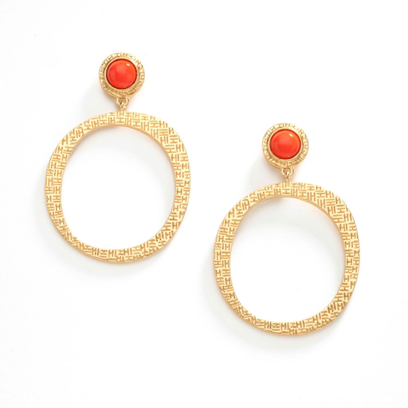 Trina Turk Free Form Circle Earrings in Orange