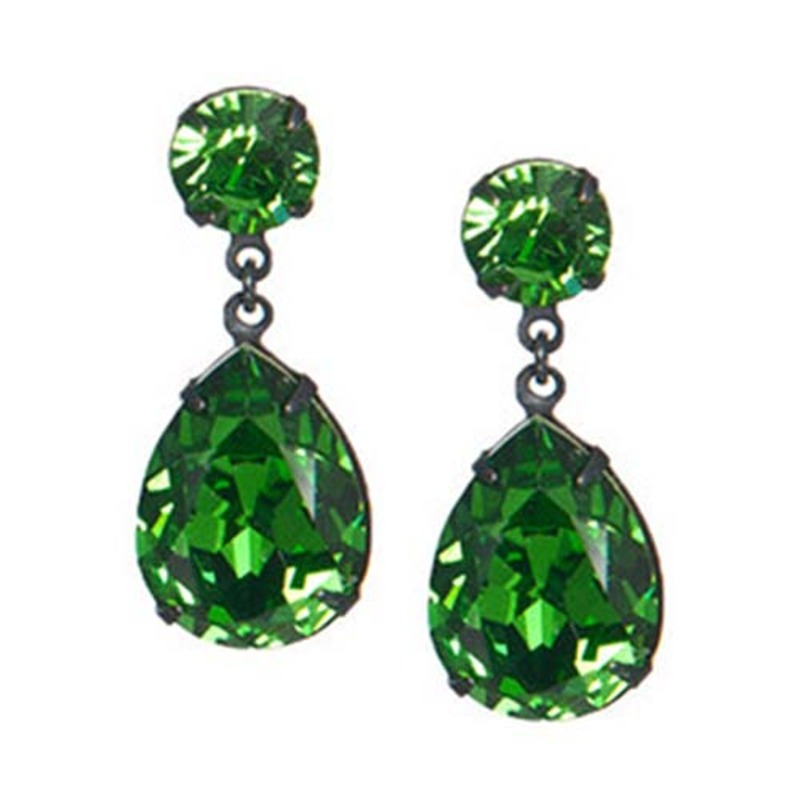 Liz Palacios Double Drop Earrings in Fern and Emerald