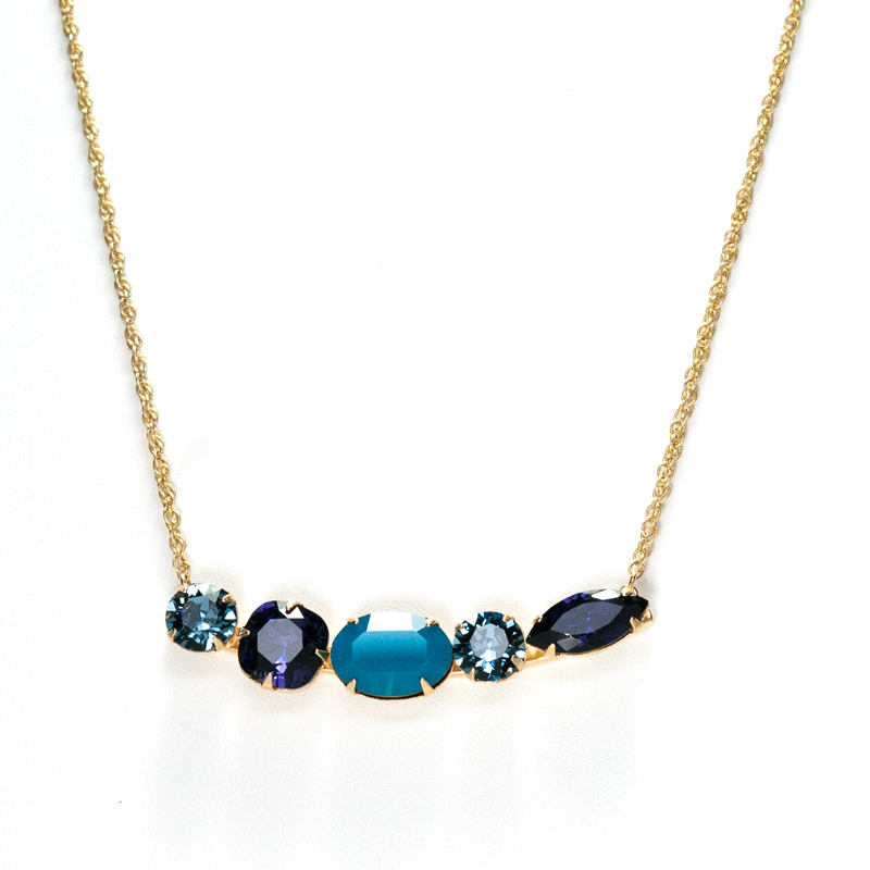 Liz Palacios Bar Necklace in Blue