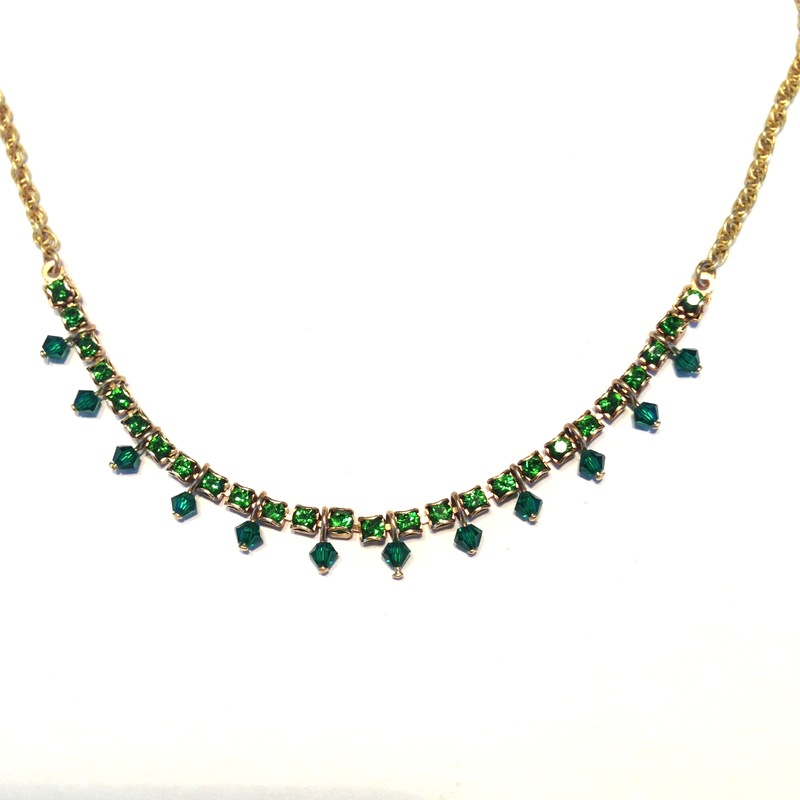 Liz Palacios Crystals Chain Necklace in Fern and Emerald