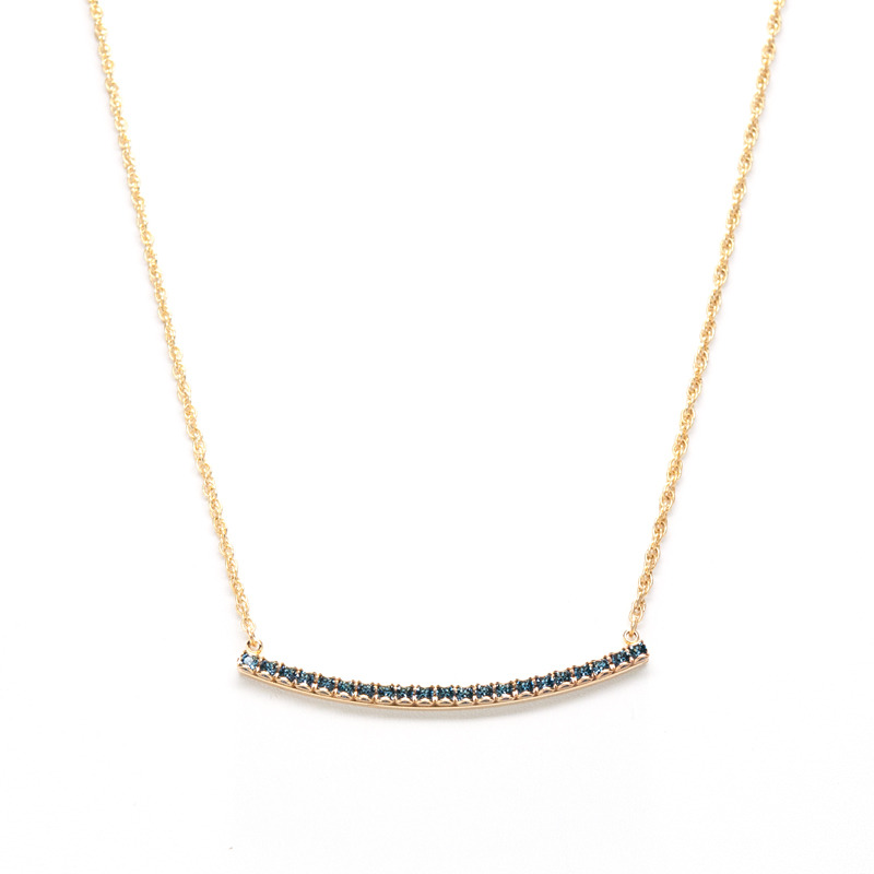 Liz Palacios Crystal Bar Necklace in Denim